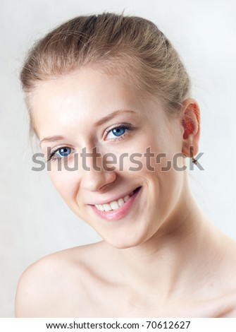 The person of the beautiful young girl, white background