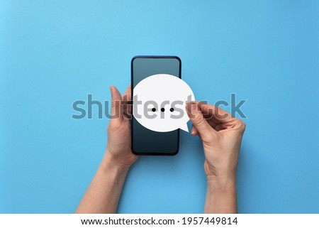 The person received a message on the phone. Online correspondence  Stockfoto ©