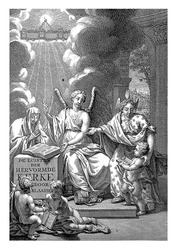 The personification of the Reformed Church sits on a throne and steps with her feet on symbols of Catholicism.