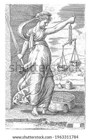 The personification of the virtue of Justice with the scales in one hand and the sword in the other. There are weights at her feet and on a wall. In the background a landscape. Сток-фото ©