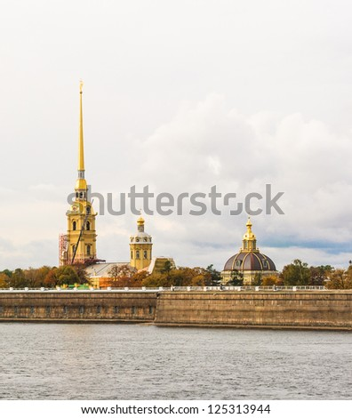 The Peter and Paul Fortress is the original citadel of St. Petersburg, Russia, founded by Peter the Great in 1703 and built to Domenico Trezzini\'s designs.