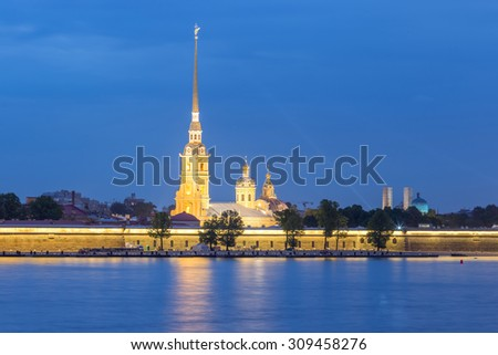 The Peter and Paul Fortress is the original citadel of St. Petersburg, Russia, founded by Peter the Great in 1703 and built to Domenico Trezzini\'s designs from 1706-1740.