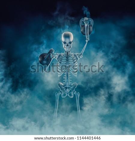 The phantom kettlebell workout / 3D illustration of scary fitness skeleton lifting heavy kettlebells emerging through smoke