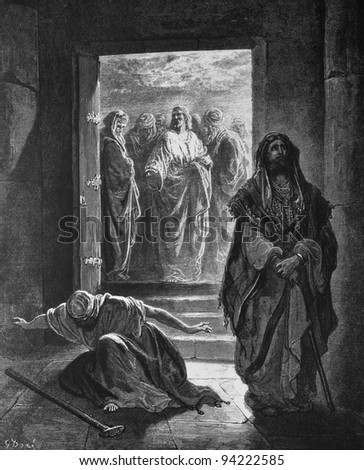 The Pharisees and the publican. 1) Le Sainte Bible: Traduction nouvelle selon la Vulgate par Mm. J.-J. Bourasse et P. Janvier. Tours: Alfred Mame et Fils. 2) 1866 3) France 4) Gustave Doré