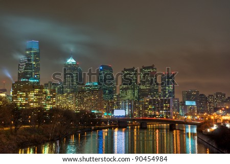The Philadelphia, Pennsylvania skyline at night.