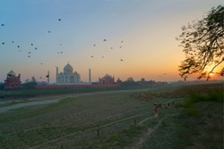 The photo is about beauty of Tajmahal from the bank of river Yamuna during sunset. The sky is changing its colour, birds are coming back in their nests... the serenity of nature and the Tajmahal ....