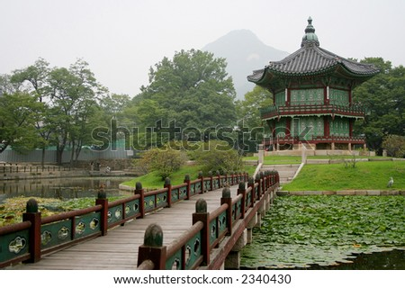 The photo of one of Korean traditional temples