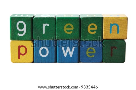 the phrase 'green power', isolated on white