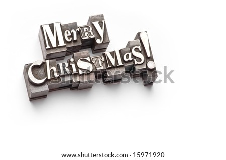 "The phrase ""Merry Christmas"" done in letterpress type"