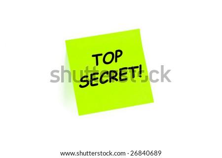 "The phrase ""TOP SECRET!"" on a post-it note isolated in white"