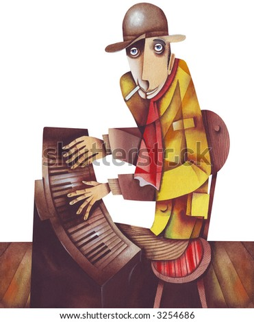 The pianist in the pub. Illustration by Eugene Ivanov.