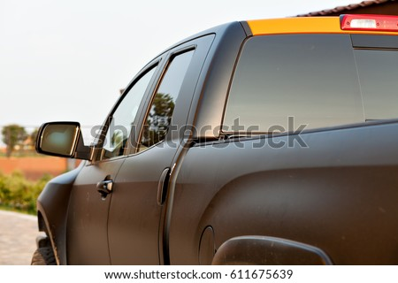 The pickup on the road