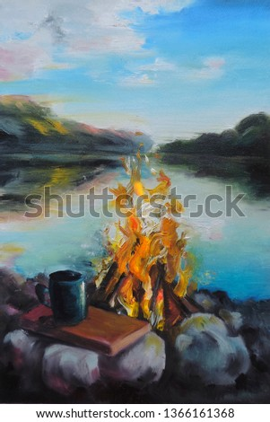 the picture is painted by oil. The picture shows an evening landscape. The lake, on the bank of which there is a fire. The coster shines brightly, it burns. A trip to the river.
