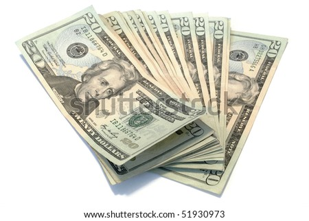 The picture of a pile of 20$ bank notes isolated on white