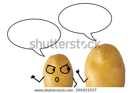 The picture of potatoes talking each other on white background