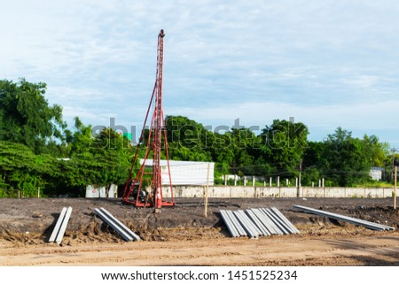 the picture of the Pile hammer tower, in the area under constructions.