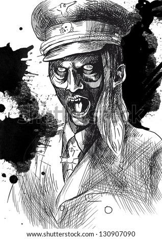 The picture on the theme of underground comics - German officer - black outlines on white. (Hand drawing)