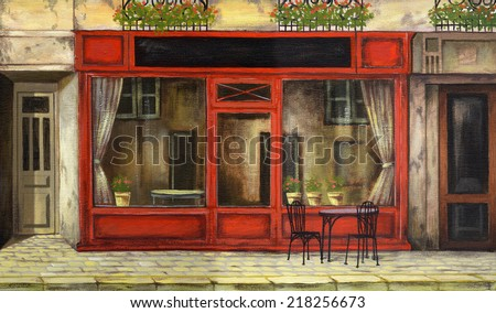the picture painted in oil Parisian cafe
