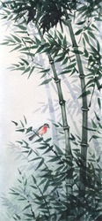 The picture painted in the traditional Japanese style. The little bird sat on a flexible stalk of bamboo in the wind in the bamboo grove