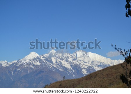 The pictures include mountains, snow and mountains in Nepal.The pics were taken by personal camera during the field trek