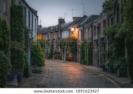 The picturesque and quaint Circus Lane in the Stockbridge neighbourhood of Edinburgh, Scotland Foto d'archivio ©