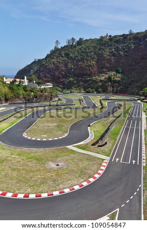 The picturesque race track in the mountains of Madeira