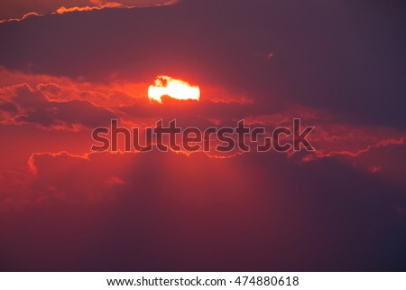 the picturesque red sunset with ...