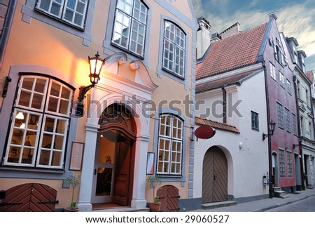 The picturesque street view of old Riga. - stock photo
