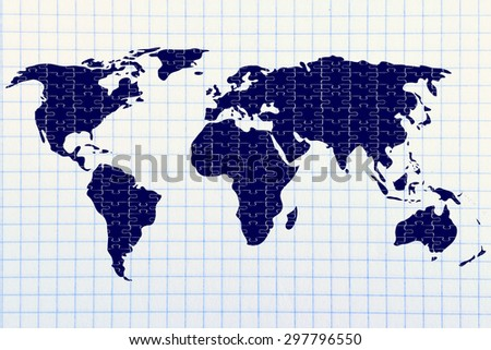 the pieces of a jigsaw puzzle composing the map of the world, concept of globalization
