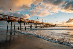The pier and Pacific Ocean at sunset, in Imperial Beach, near San Diego, California