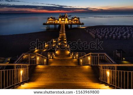 The pier of Sellin in the night #1163969800