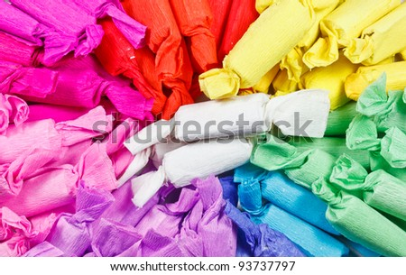 The pile of Thai style candies wrapped with colorful papers
