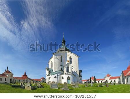 The Pilgrim Church of St. John of Nepomuk on Zelena Hora (Green Mountain) near Zdar nad Sazavou, Czech Republic, World Heritage Site by UNESCO