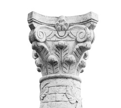 The pillar is a common architectural element of the vertical shape, which bears part of the supporting structure of buildings and structures. Variety of pillar - column. Isolated object