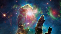 The Pillars of Creation. The Eagle Nebula. Elements of this image furnished by NASA