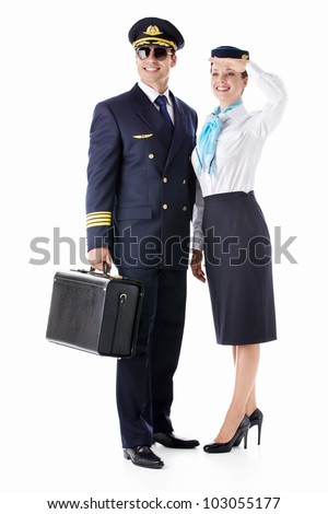 The pilot and stewardess on a white background