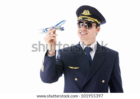The pilot model airplane on a white background