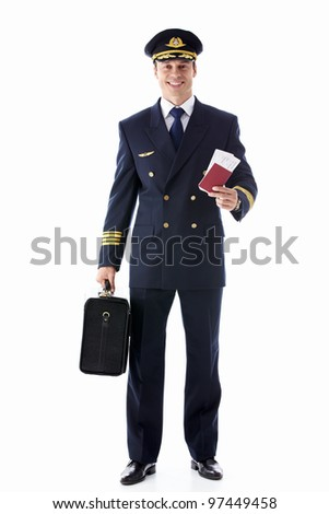 The pilot of a suitcase and a passport on white background