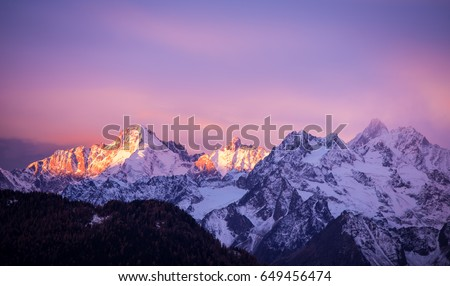 The Pink Light: the Sun Highlighting the Pics with some Pink and Blue tones, Verbier, Alps, Canton du Valais, Wallis, Switzerland