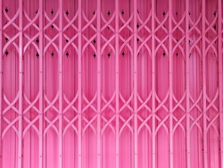 The pink stretchy steel door, concept for Valentine's day background