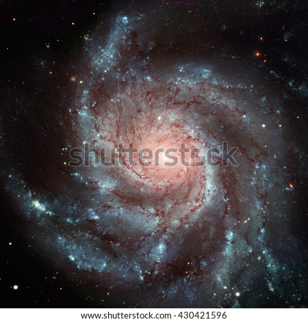 The Pinwheel Galaxy (also known as Messier 101, M101 or NGC 5457) is a face-on spiral galaxy in the constellation Ursa Major. Elements of this image furnished by NASA.