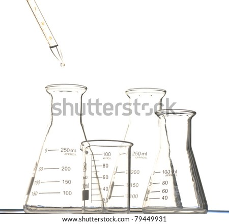 the pipette put water into the triangular flask and  beaker - stock photo
