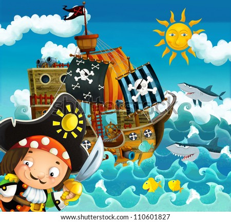 The pirates and the ships - bright sky - illustration for the children 8