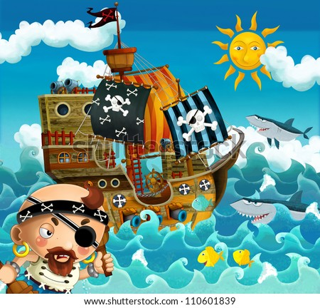 The pirates and the ships - bright sky - illustration for the children 10
