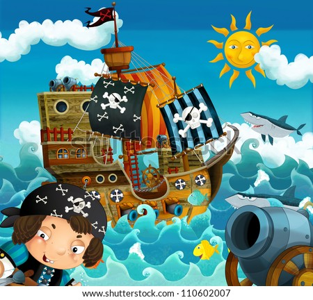 The pirates and the ships bright sky illustration for the children 1