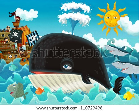 The pirates and the ships - bright sky - illustration for the children main theme whale 1