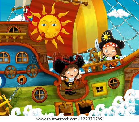 The pirates treasure hunt illustration for the children