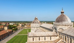 The Pisa Cathedral (Duomo di Santa Maria Assunta) and the Baptistery of Saint John, view from the Leaning Tower, Piazza dei Miracoli (Square of Miracles). UNESCO heritage site, Tuscany, Italy, Europe.