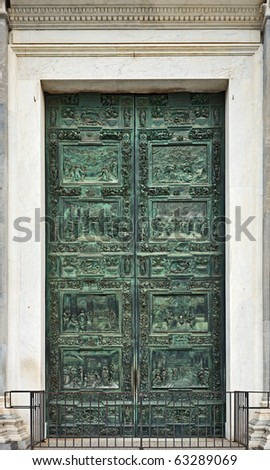 The Pisan Cathedral portal, Pisa, Tuscany, Italy