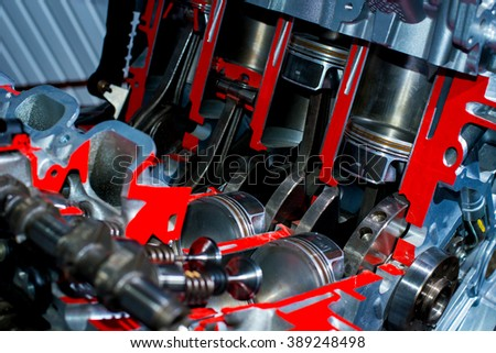 The pistons in the motor vehicle stock photo